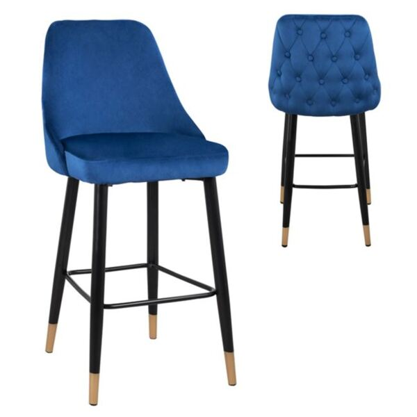 Бар стол Пейдж синьо кадифе с метална основа