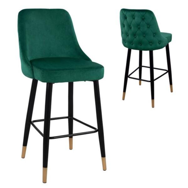 Бар стол Пейдж зелено кадифе и метална основа