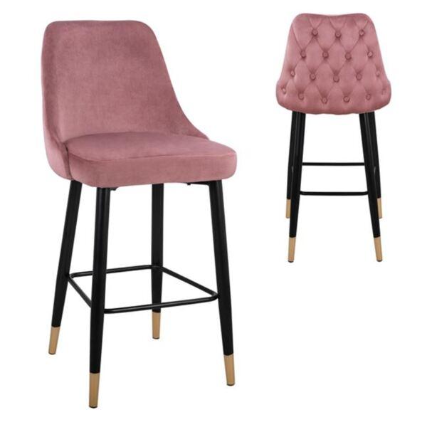 Бар стол Пейдж розово кадифе с метална основа