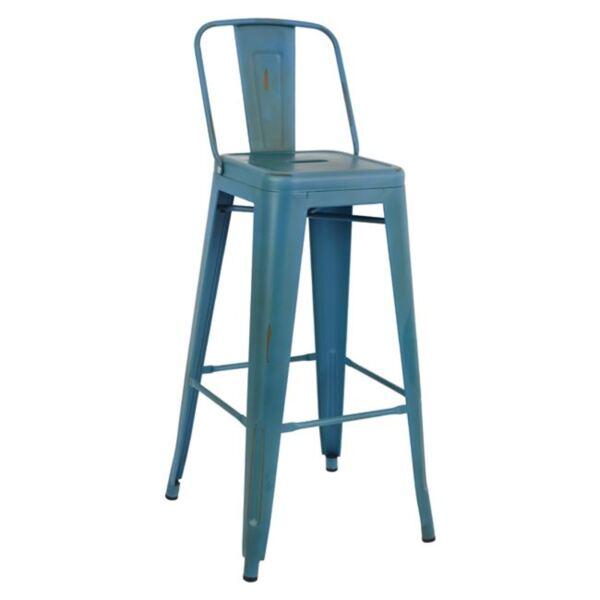 Метален бар стол Илияна в синьо