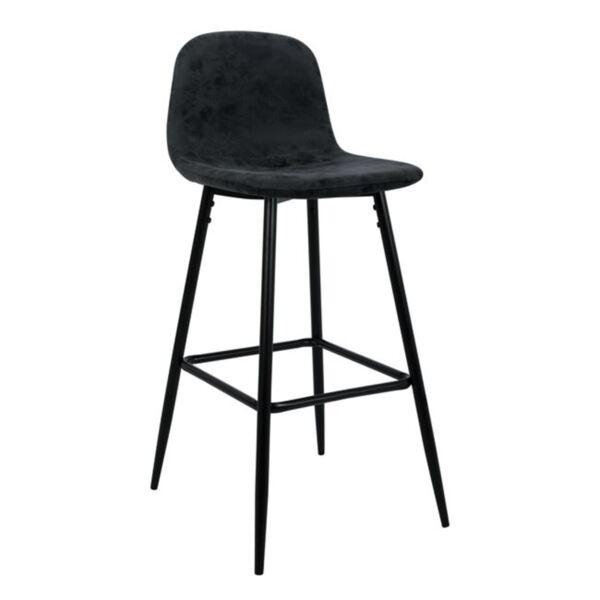 Бар стол Vintage със сив PU и метална рамка