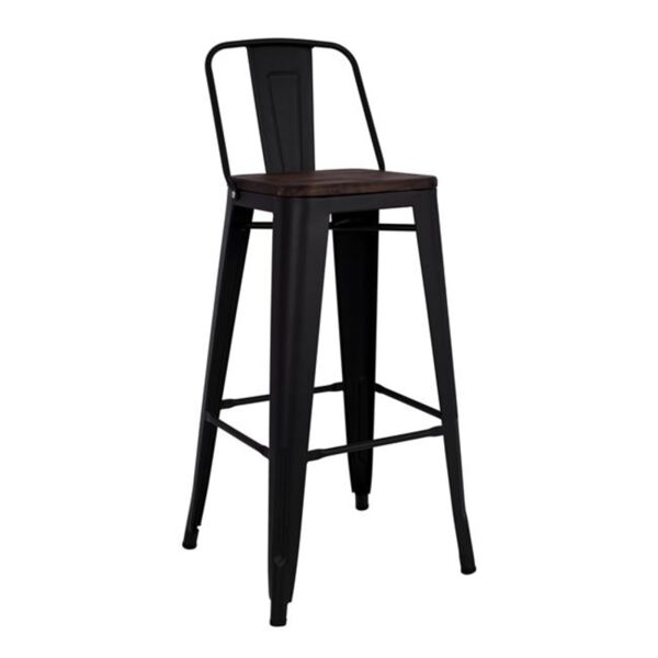 Метален бар стол черен мат и дърво