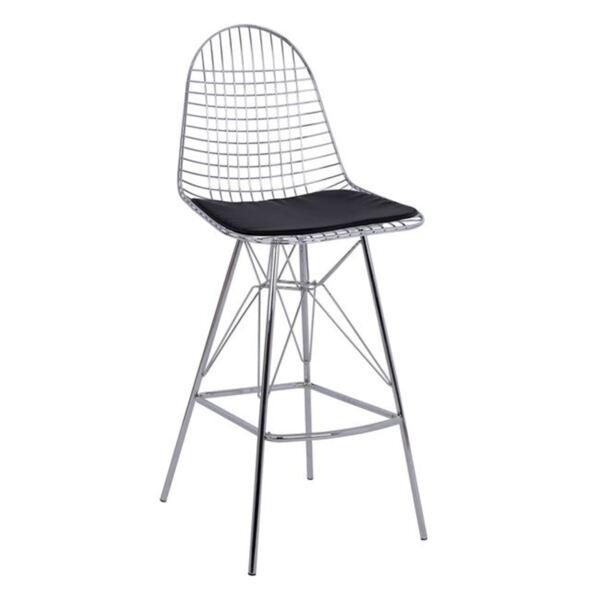 Метален бар стол с кожена възглавница Сиси