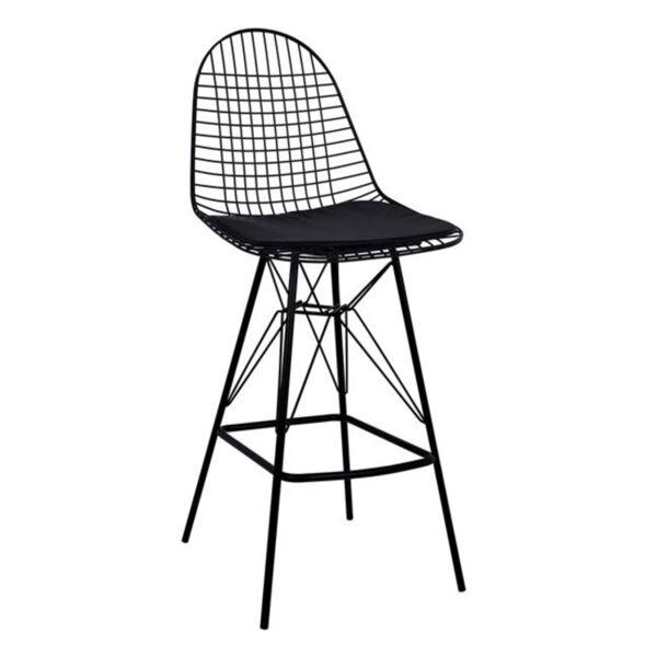Метален бар стол в черно с възглавница Сиси