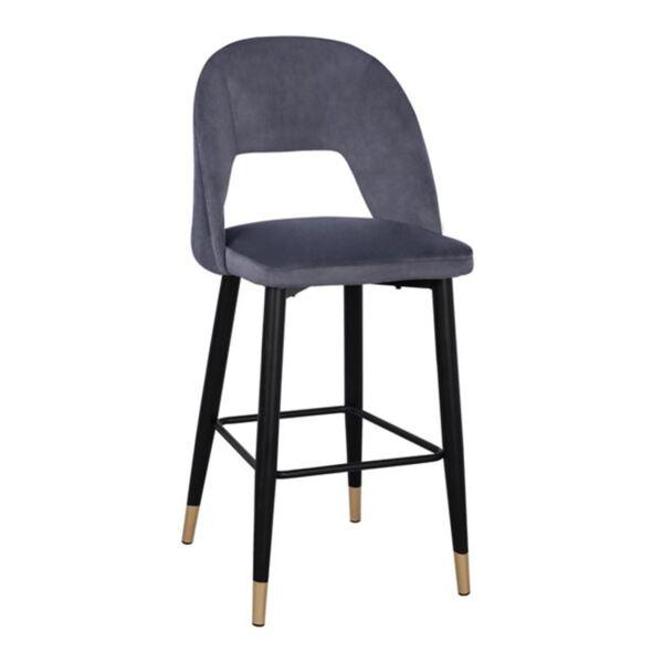 Бар стол Харпър сиво кадифе с метална рамка