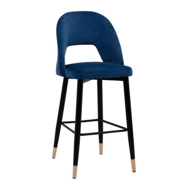 Бар стол Харпър синьо кадифе в метална рамка