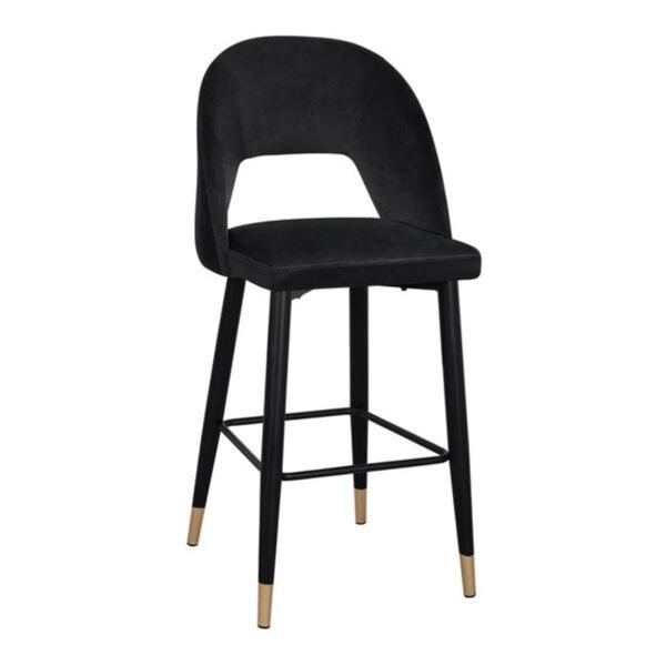Бар стол Харпър черно кадифе  метална рамка
