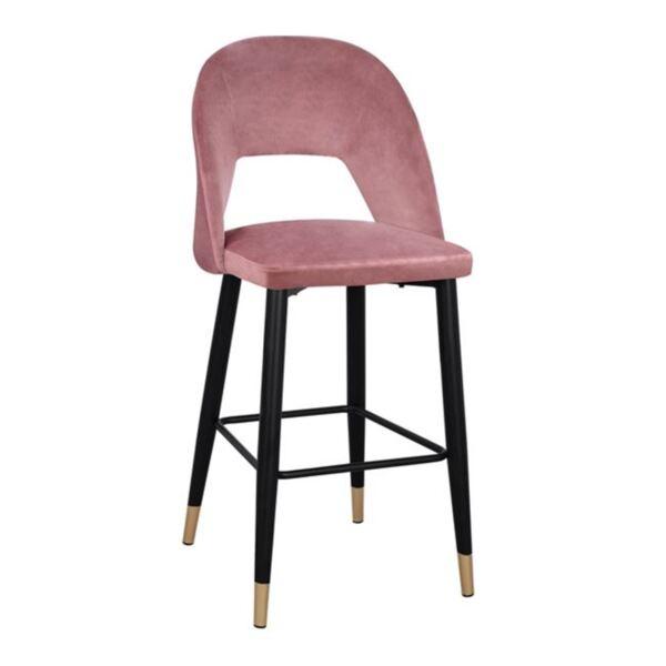 Бар стол Харпър розово кадифе с метална рамка