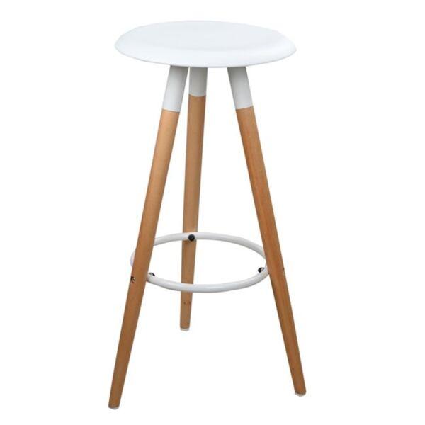 Бар стол с дървени крака и бяла седалка Тоня