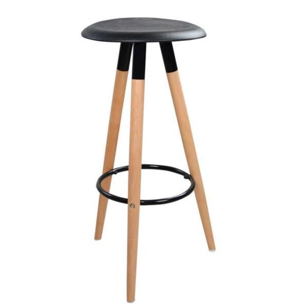 Бар стол с дървени крака и черна седалка Тоня