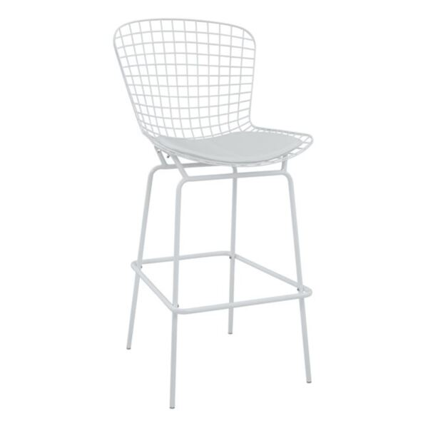 Метален бар стол Манон Бяла с бял PU