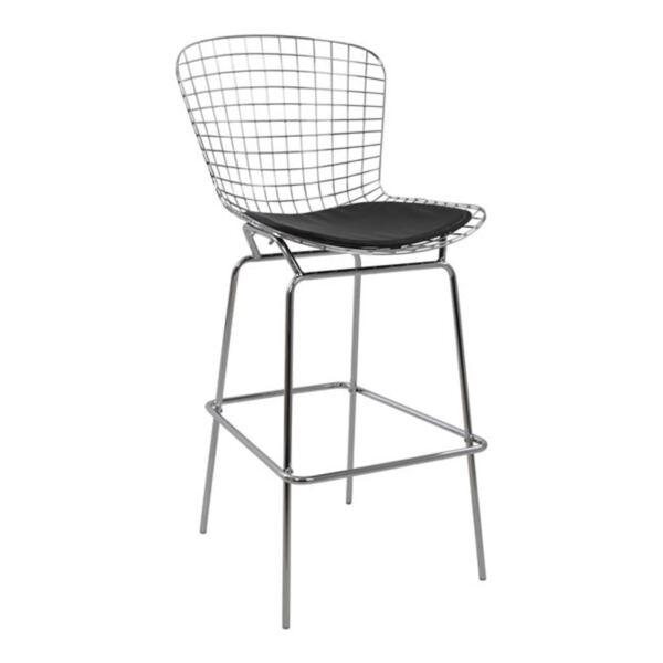 Метален бар стол Манон Кожен в черен цвят PU