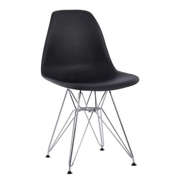 Стол Twist с хромирани крака и седалка в черно