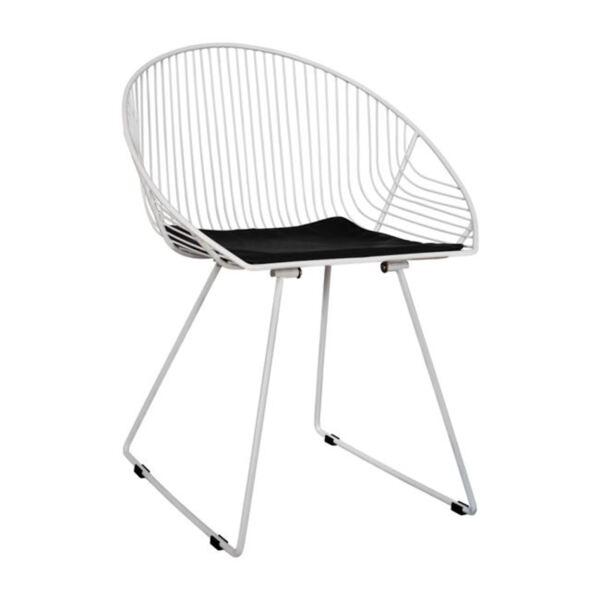 Метален стол Curve в бял цвят
