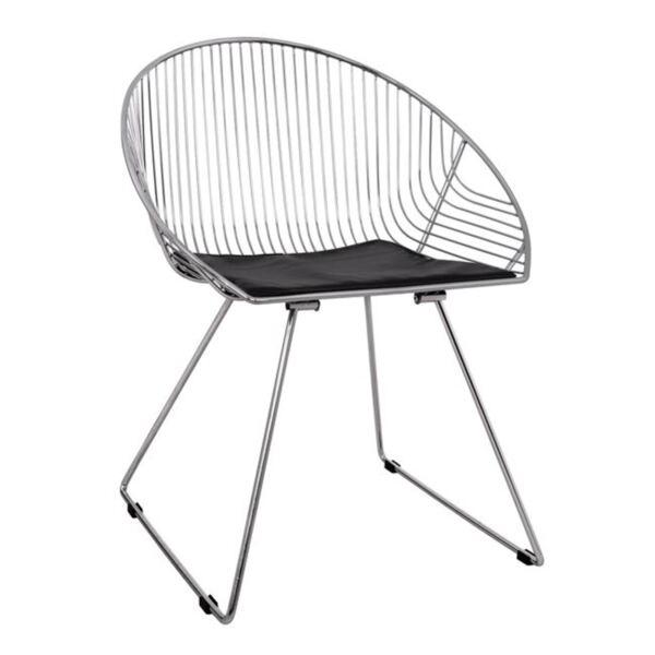 Метален стол Curve в сребърен цвят