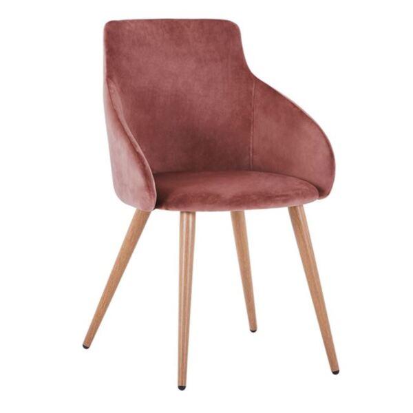 Кресло Ivy розово кадифе с метални крака