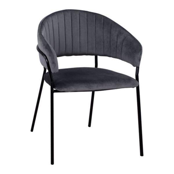 Кресло Теодор сиво кадифе с метална рамка