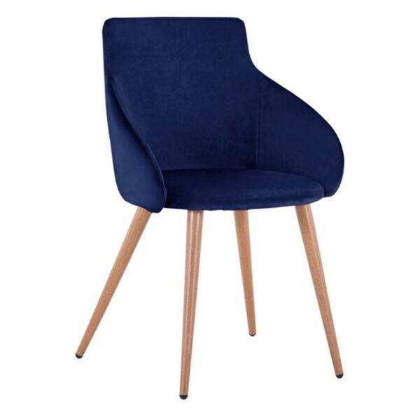 Кресло Ivy синьо кадифе с метални крака