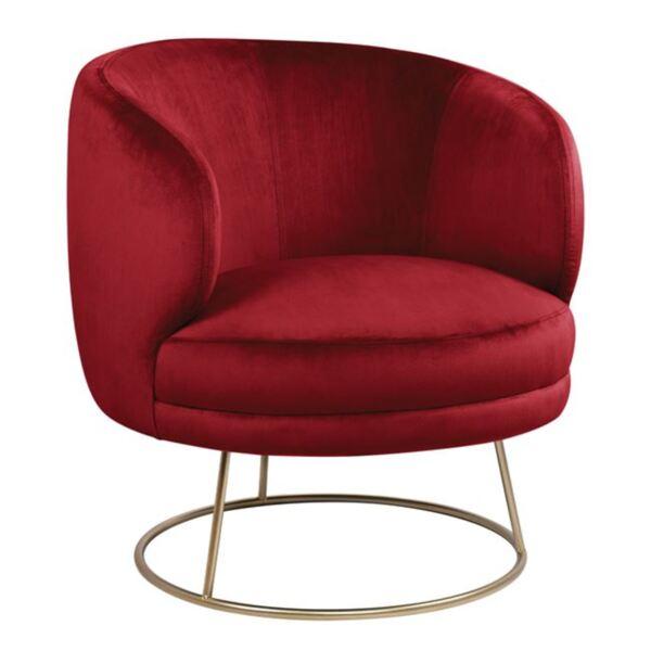 Кадифено кресло Arien в червено със златиста основа