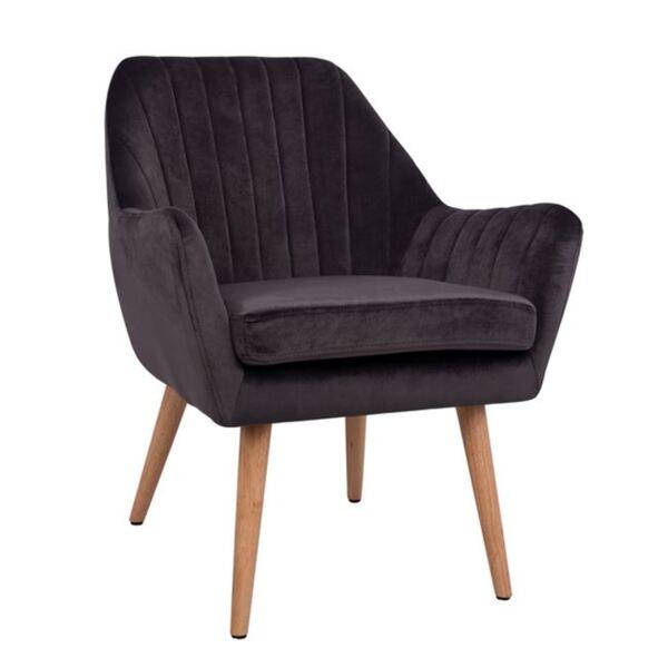 Кадифено кресло Corena в сив цвят