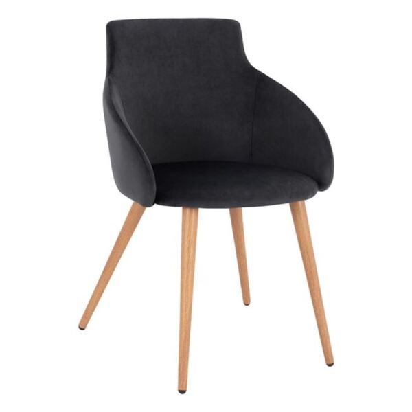 Кресло Ivy черно кадифе с метални крака