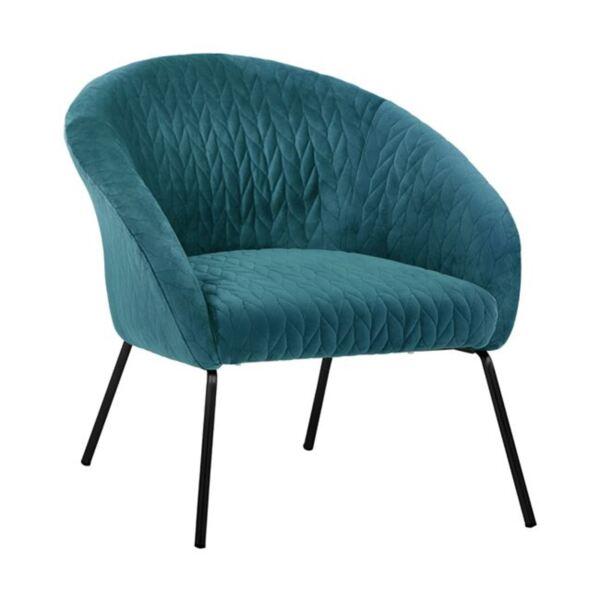 Кресло Джойс тюркоазено кадифе с метални крака