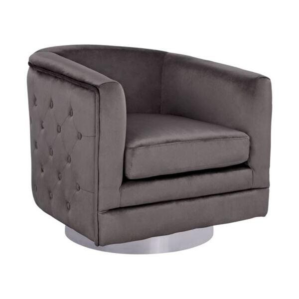 Кадифено кресло със сив цвят и сребърна основа