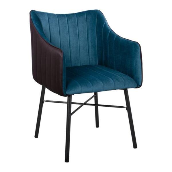 Кресло Allysa синьо кадифе със сив гръб PU