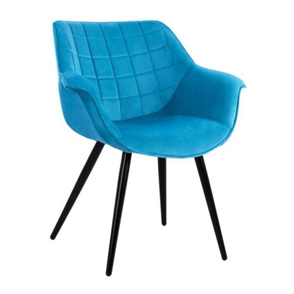 Кресло Бенджамин тюркоазено кадифе с метални крака