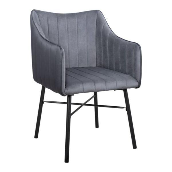 Кресло Allysa кадифе тъмно сиво и крака в черен цвят PU