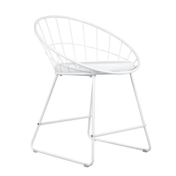 Стол Мейсън от бял метал с PU бяла седалка