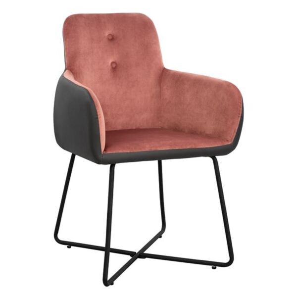 Кресло Абигейл розово кадифе и PU тъмно сив