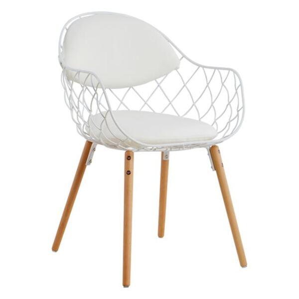 Кресло Melia в бял цвят PU с дървен крак