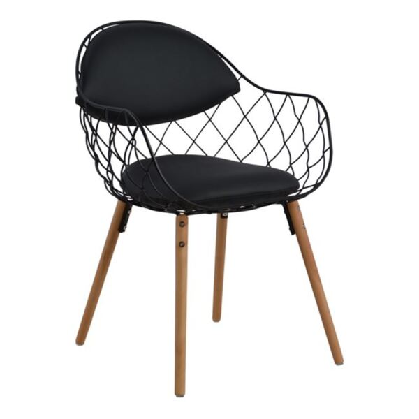 Кресло Melia в черен цвят PU с дървен крак