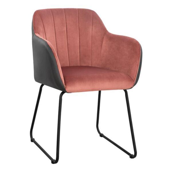 Кресло Ember розово кадифе и PU сив