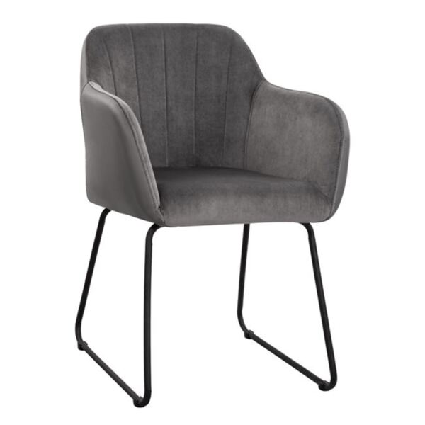Кресло Ember кадифе Pu и сив гръб