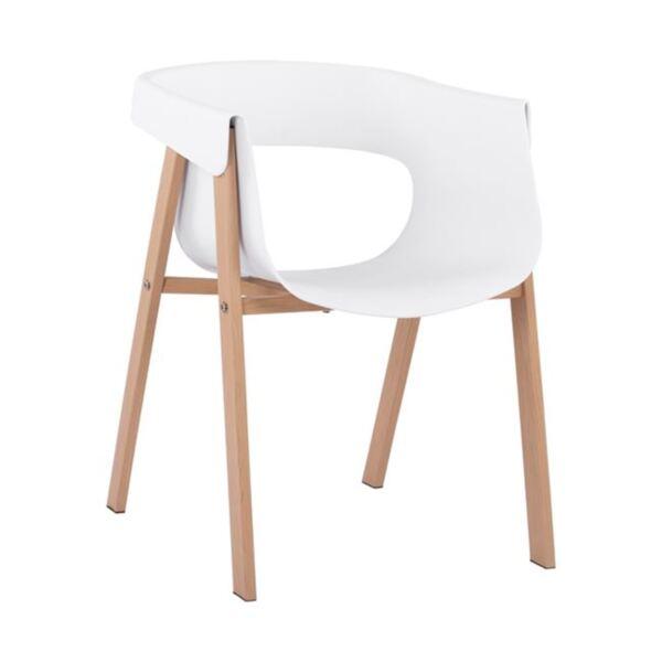 Стол Meghan с метални крака и бяла седалка PP
