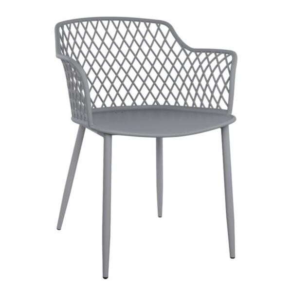 Полипропиленов стол Джоселин - сив с метални крака