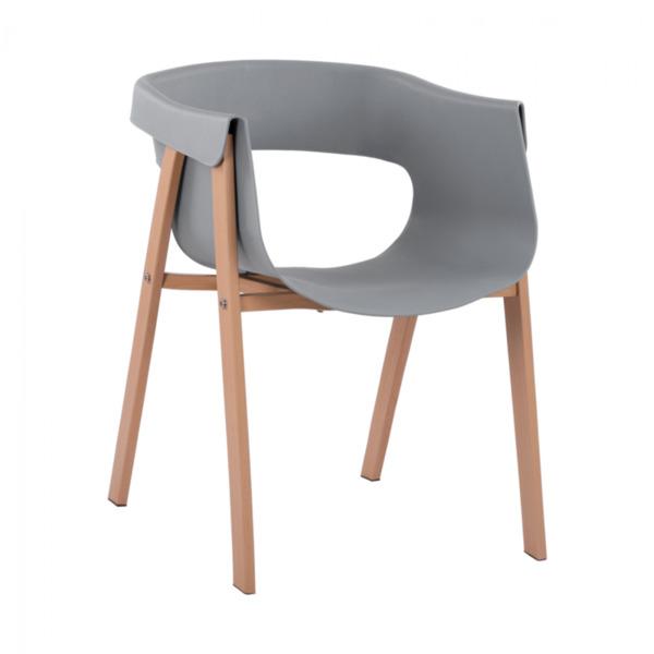 Стол Meghan с метални крака и сива седалка PP