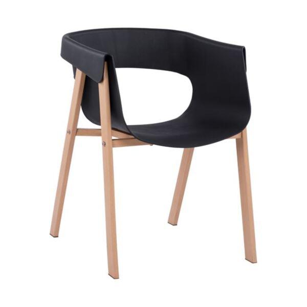 Стол Meghan с метални крака- черна седалка PP