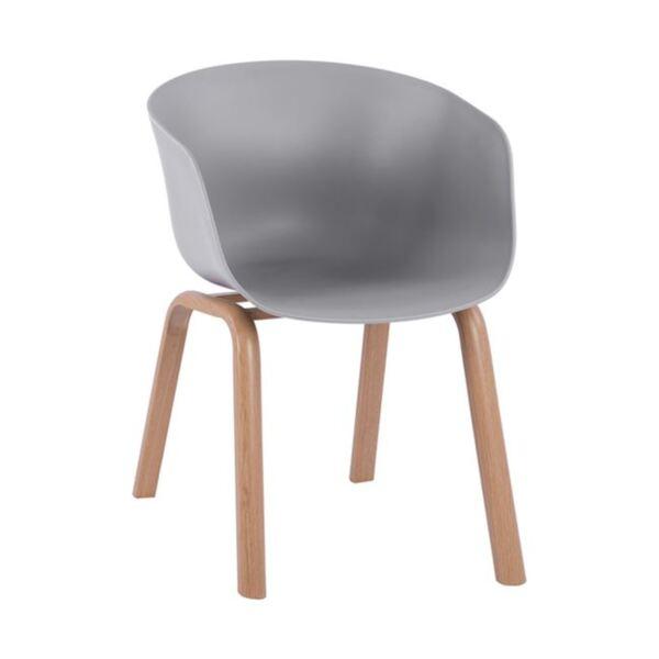 Стол Antonio с метални крака и седалка в сив цвят