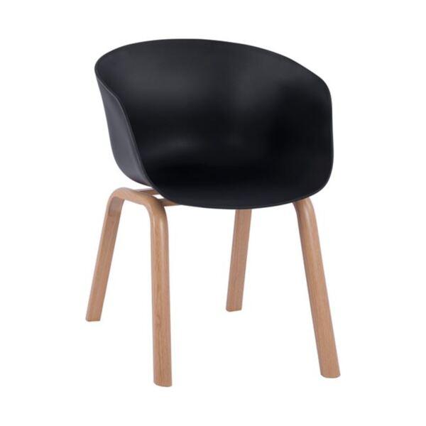 Стол Antonio с метални крака и седалка в черен цвят