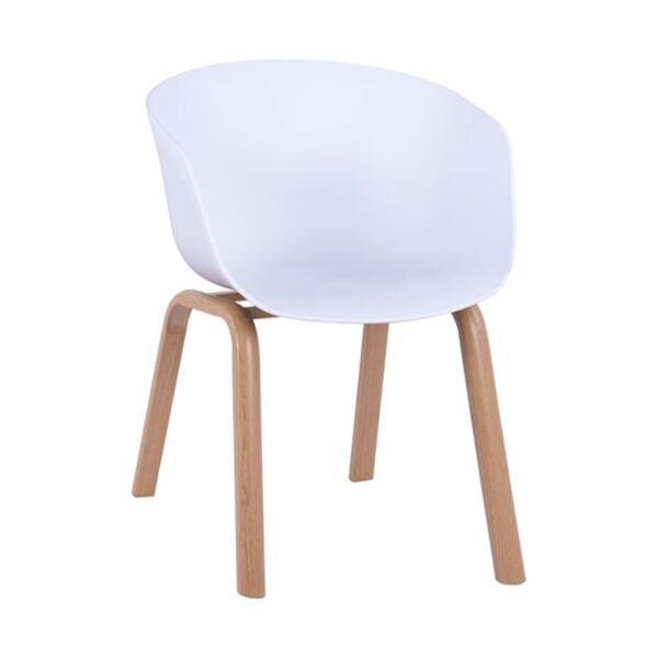 Стол Antonio с метални крака и бяла седалка