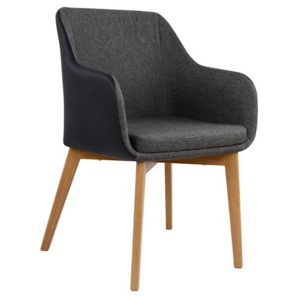 Кресло Бристол с тъмно сив цвят и черен PU