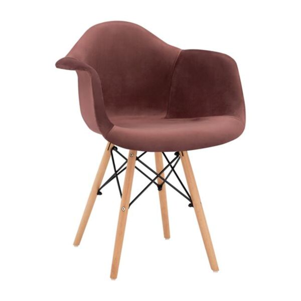 Стол с дървени крака и розово кадифе Мирто