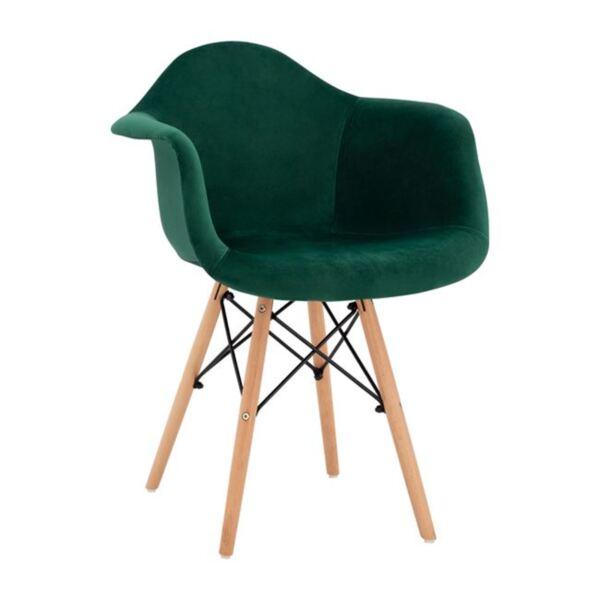 Стол с дървени крака и зелено кадифе Мирто