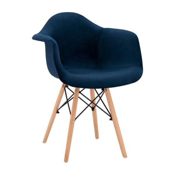 Стол с дървени крака и синьо кадифе Мирто