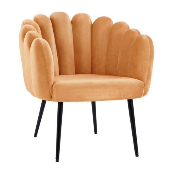 Кресло Вивиан златно кадифе с черни крака