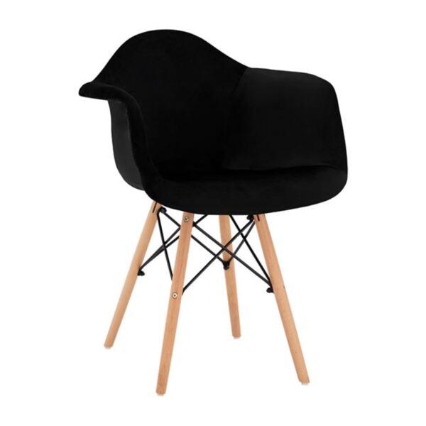 Стол с дървени крака и кадифе черни Мирто