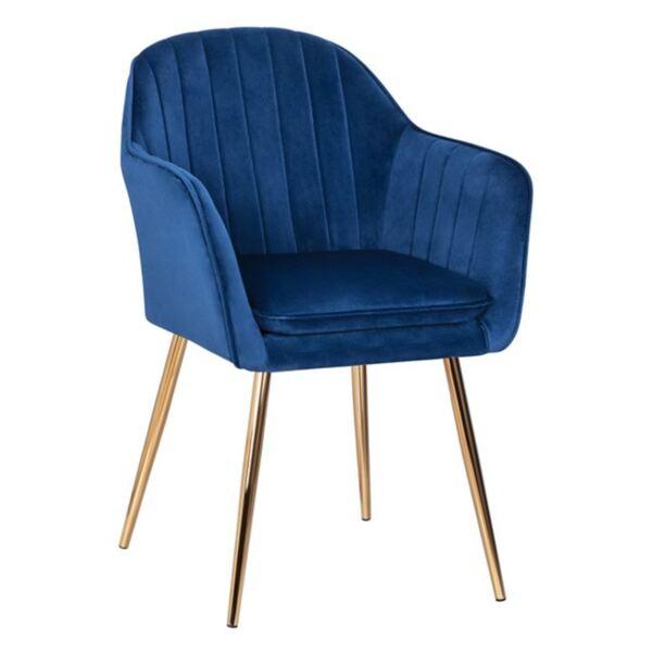 Кресло Сойер синьо кадифе със златни крака